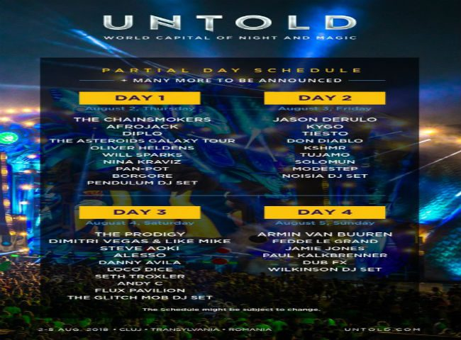 untold 2018 program artisti